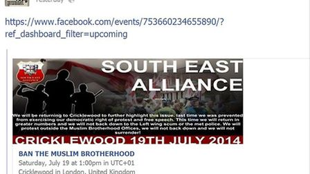 South East Alliance have published details of their march on their Facebook page (Pic credit: Facebo