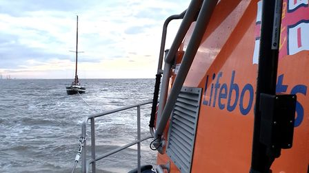 Lowestoft Lifeboat was called to help a Dutch yacht suffering electrical problems. Pictures: RNLI /