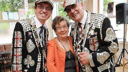 """Pictured is Rita Johnson pictured with Darren Walters """"Pearly Prince of Finsbury"""" and dad John Wal"""