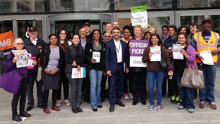 Cllr Muhammed Butt joined the picket line outside Brent Civic Centre in support of the strikes