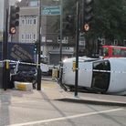 The scene of the crash this morning. Picture: Daniel Francis