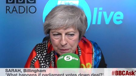 Theresa May takes questions from listeners on BBC Radio 5Live. Photograph: BBC News.