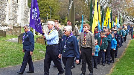 The parade of more than 500 young people of the Lowestoft District Scout Association mark St George'