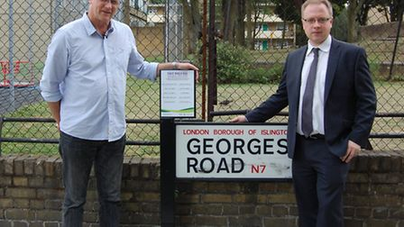 John Shepherd and Cllr Richard Watts unveil the first of 400 plaques commemorating Islington's First