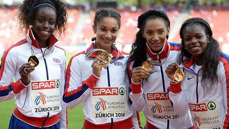 Great Britain's (left-right) Desiree Henry, Jodie Williams, Ashleigh Nelson and Asha Philip pose wit