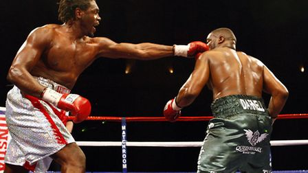 Audley Harrison and Michael Sprott (right) during the Vacant EBU Heavyweight Title bout at Alexandra