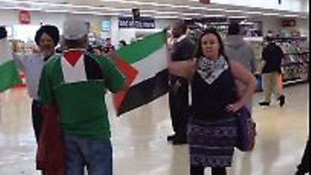 A protest took place in Sainsbury's in Alperton on Sunday