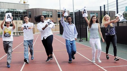 Students at Highbury Grove celebrate their results last year.