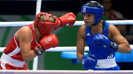 Valerian Spicer (right) in action against Northern Ireland's Alanna Audley-Murphy at the Commonwealt