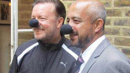 Ricky Gervais with Dr Abdul Jalil Mohammadzai at the tea party