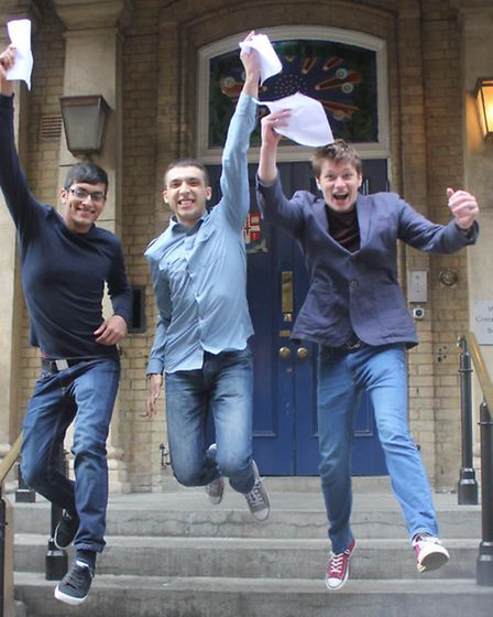 "Maksud Rahman, Waseem Al-Abdulla and Theo Fiore ""jumping for joy"""