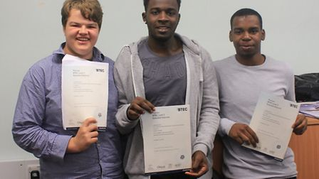Galileo West, Oliver Gnandi and Shaun Hylton who all achieved triple distinction in their BTECs