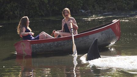 Boaters at Finsbury Park realise their Jaws nightmares Pic: Tim Anderson