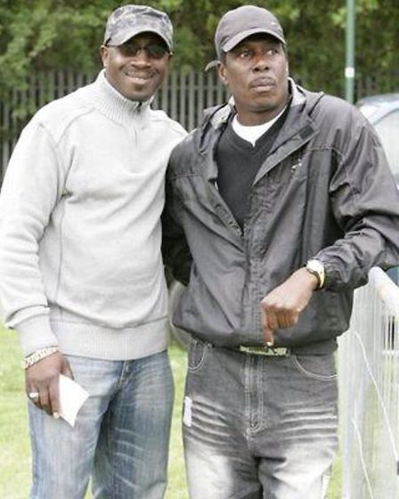Trevor Hutton, right, with Keith Gussy-Young