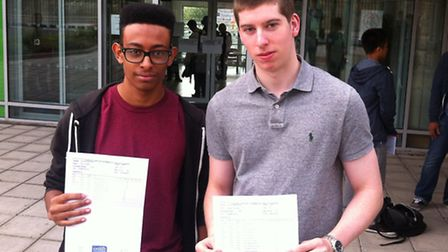 Natu Hadish (BBC) and Jamie Nee (BCD) collect their results at St Aloysius College