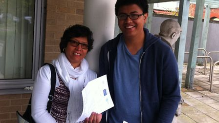 Celia Tala and her son Gabriel, who collected his AS results at the college on Thursday