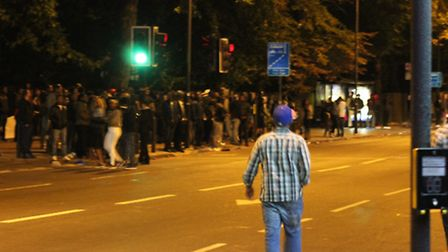 Party goers in the streets around Finsbury Park