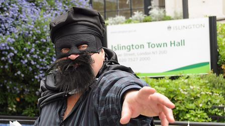 The Black Beret protesting outside Islington Town Hall