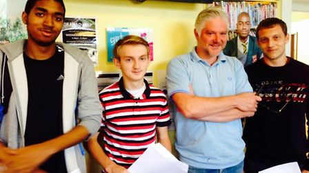 Redd, Colm, Danny Coyle, headteacher of Newman catholic College and Gracjan (pic credit: Twitter@NC
