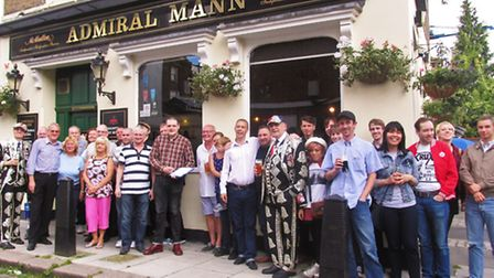 Patrons of the Admiral Mann show their support for the boozer