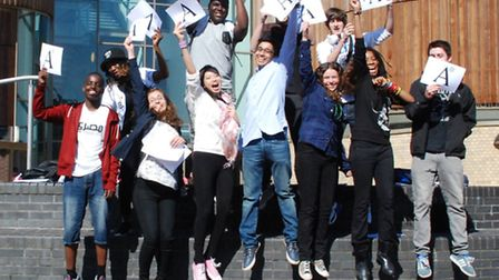 Highbury Grove pupils jump for joy celebrating A and A* grades in their GCSEs