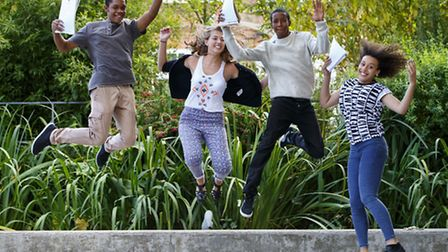 Students of Islington Arts and Media School celebrating their GCSE results on Thursday 21 August 201