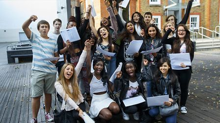 Students of City of London Academy Islington celebrating their GCSE results on Thursday 21 August 20
