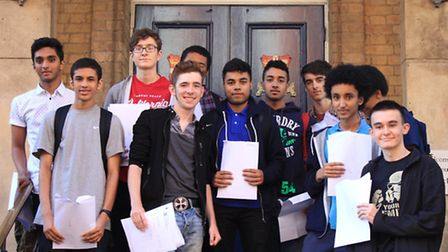 Pupils at Central Foundation Boy's School with their record breaking results