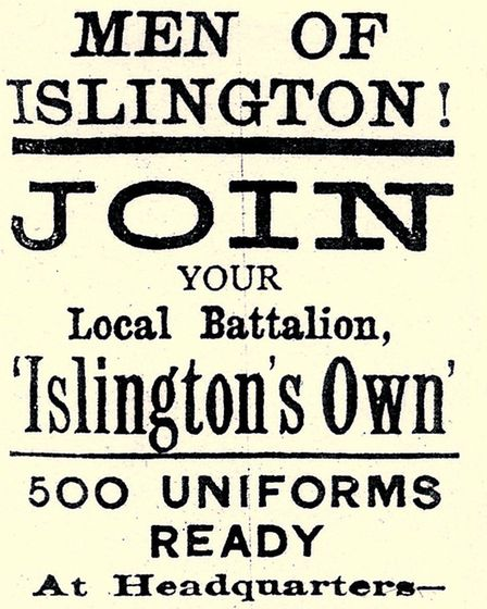 A wartime recruitnig poster Pic: Islington Local History Centre