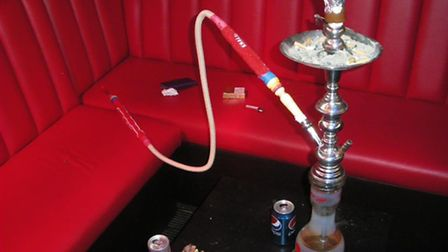 A shisha pipe in the enclosed room at Jzee Grillerz in Holloway Road