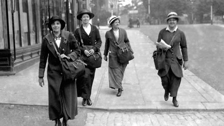 Postwomen working the Golders Green and Hampstead Garden Suburb districts during World War One.