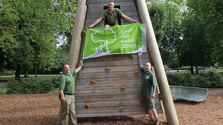 Park staff with their green flag: (left to right) Dave Eales, Ian Walker and Richard Lowis