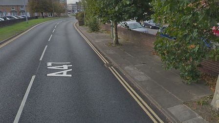 The A47 Katwijk Way in Lowestoft, close to where the van was in collision with a tree. Picture: Goog