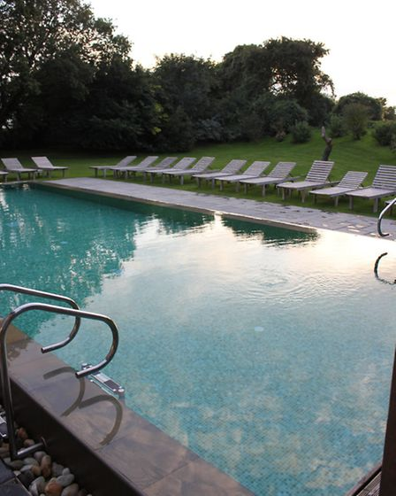 The outdoor pool in the spa at Bailiffscourt Hotel.