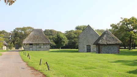 Some of the Medieval style cottages in the Bailiffscourt Hotel grounds.