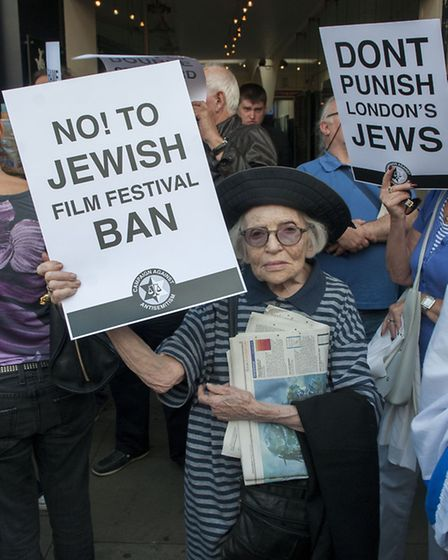 Protest outside Tricycle Theatre in Kilburn following refusal to host Jewish film festival over Gaza