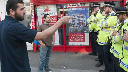 Two pro-Palestine protestors turned up at the demonstration Picture: Nigel Sutton