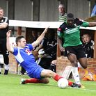 Hendon striker Leon Smith (right) scored in the FA Cup victory over Leiston. Pic: Andrew Aleksiejczu