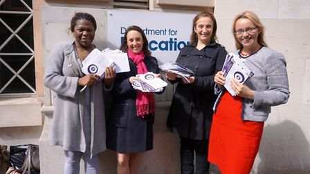 Shay Thripp, Naomi Landau, Cristina Bruno and Clare Craig submitting their petitions to the DfE bac