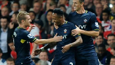 Southampton's Nathaniel Clyne (centre) celebrates with his team mates after he scores their side's s