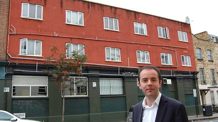 Cllr James Murray outside the property in Holloway Road where Islington Council has made prohibitio