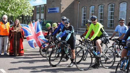 Beccles mayor Elfrede Brambley-Crawshaw sets the cyclists off for the Beccles Cycle for Life charity