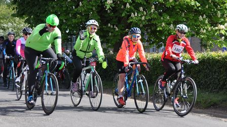 Cyclists head out on the Beccles Cycle for Life charity ride. Picture: John Swanbury