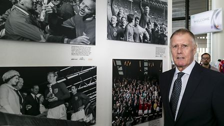 World Cup legend Sir Geoff Hurst open the exhibition at Wembley Stadium yesterday (Photo by Miles Wi