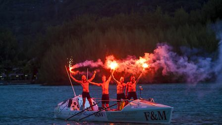 Jamie Sparks and the rest of the Fast Row West crew celebrate arriving in Seychelles