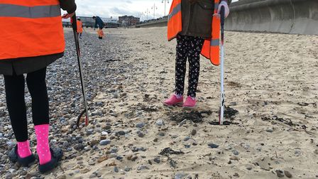 A previous beach clean-up in Lowestoft last year. Picture: Thomas Chapman