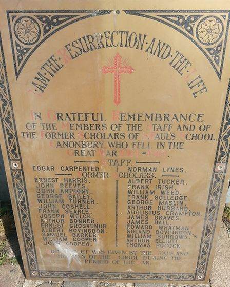 Two staff members and 28 former scholars who died during the war are remembered on the plaque