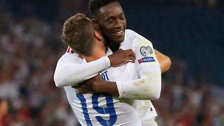 England's Danny Welbeck celebrates with team-mate Rickie Lambert after scoring his side's second goa