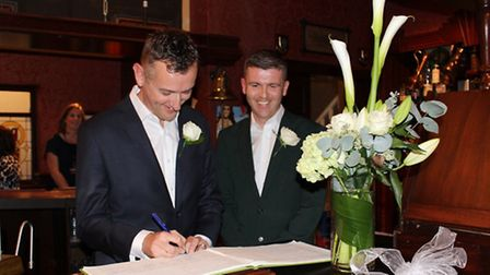 Paul Johnston and Andy Daniel married in the Rover Return on the former Coronation Street set