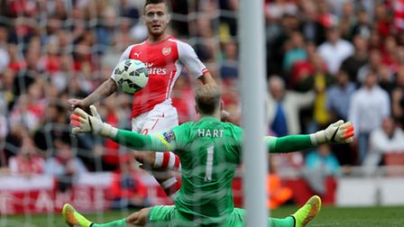 Jack Wilshere scores for Arsenal. Picture: PA